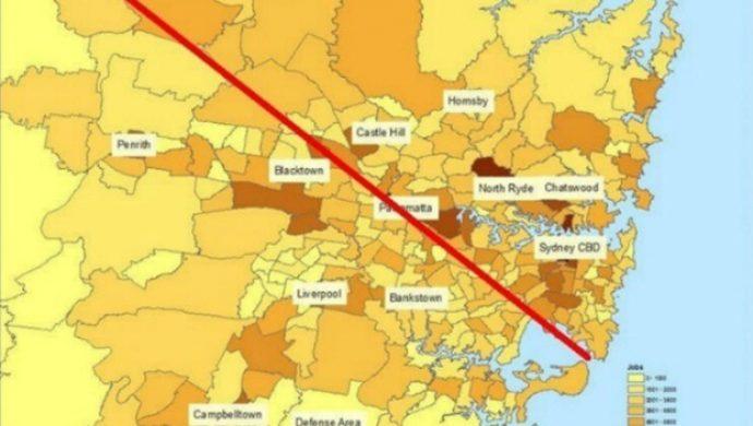 """""""Dải phân cách Latte Line"""" của Sydney phân chia cơ hội việc làm và nơi ở"""